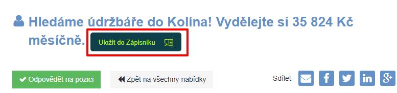 Můj Zápisník nabídek práce na prace.cz